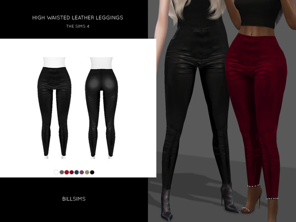 High Waisted Leather Leggings by Bill Sims