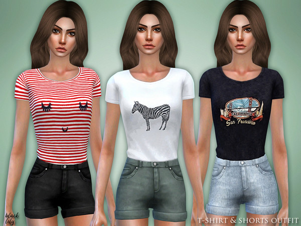 T-Shirt & Shorts Outfit by Black Lily