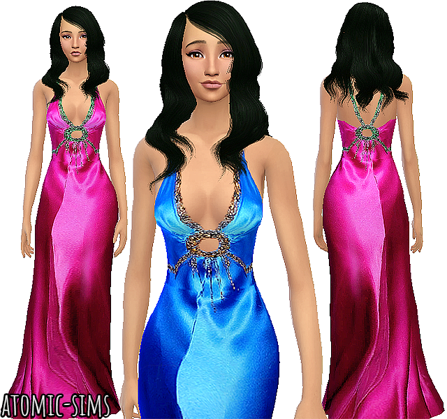 Glamsim Eva electric blue silk gown by Atomic-sims