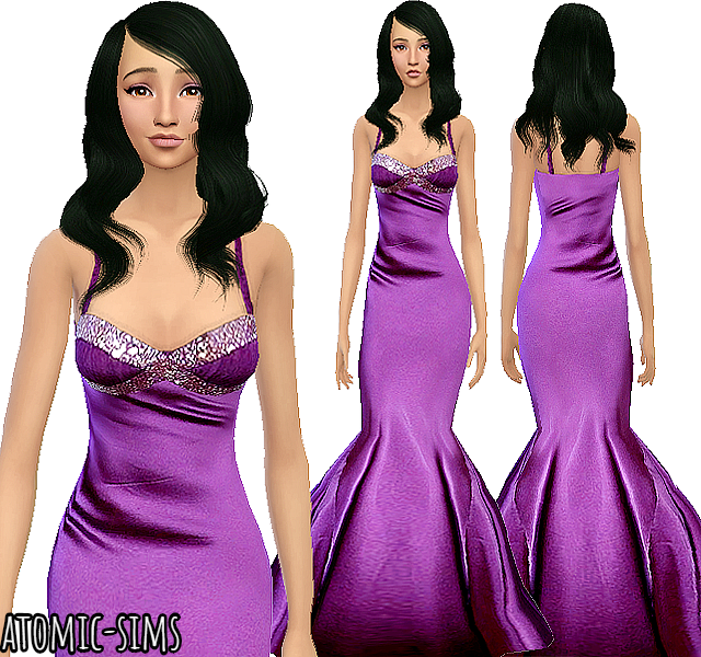 Glamsim Silk mermaid gown by Atomic-sims