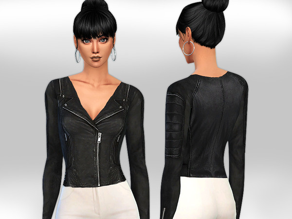 Realistic Fit Black Leather Jacket for Heigh Weist Pants by Saliwa