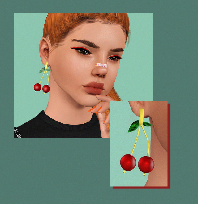 Pralinesims Cherry Bomb earrings 4to3 conversion by icedplumbs
