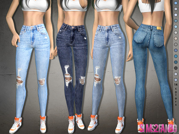 373 - Ripped Skinny Jeans by sims2fanbg