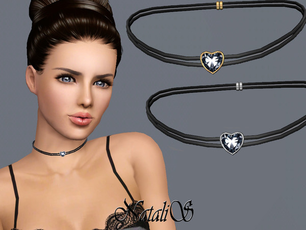 NataliS TS3 Double leather choker with heart