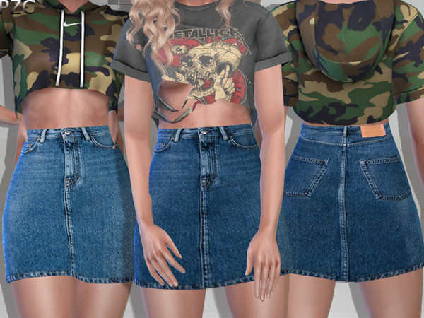 M.Guided Denim Jeans Skirt by Pinkzombiecupcakes