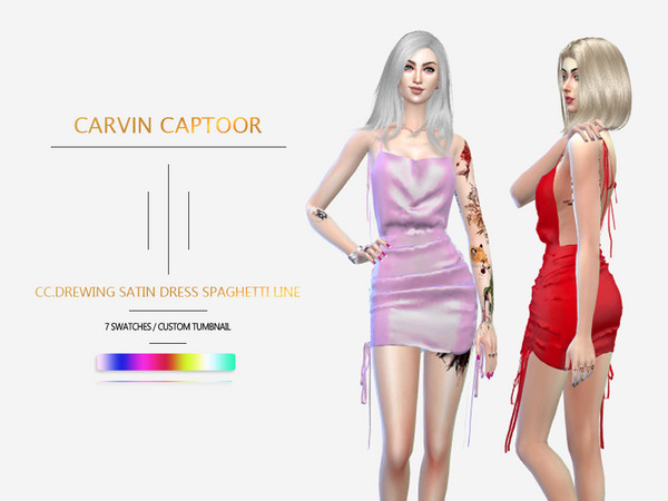 CC.Drewing Satin Dress Spaghetti line by carvin captoor