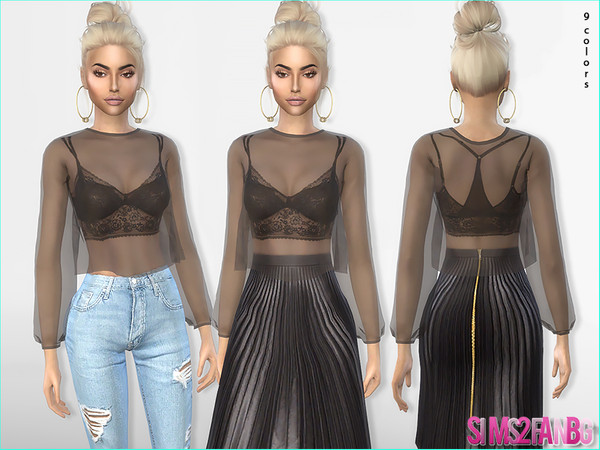 374 - Layered Lace Bralette by sims2fanbg
