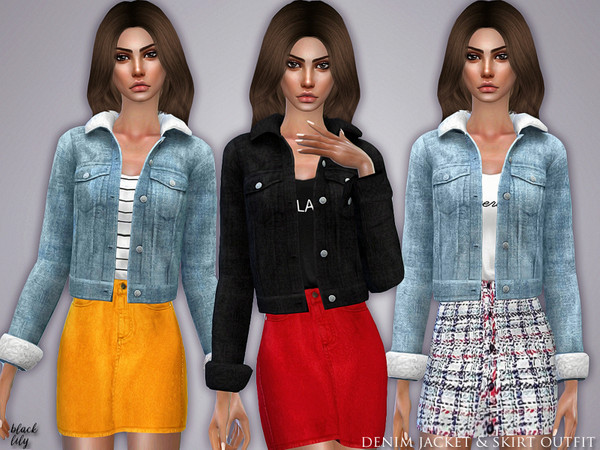 Denim Jacket & Skirt Outfit by Black Lily