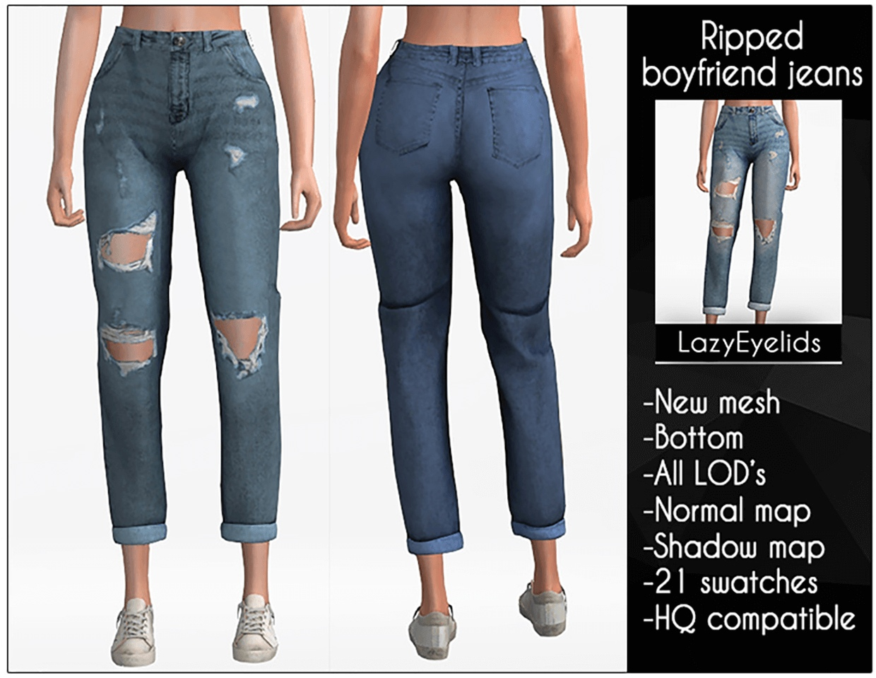 Ripped boyfriend jeans by Lazy_Eyelids