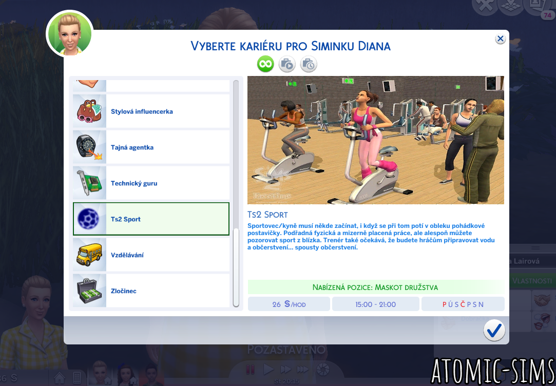 Ts2 to Ts4 Athletic Career CZ/EN by Atomic-sims