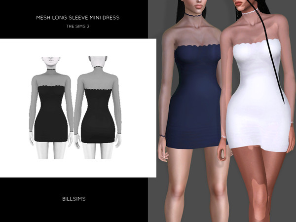 Mesh Long Sleeve Mini Dress by Bill Sims