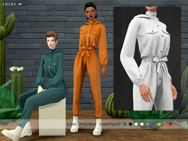 Chic Hoodie Jumpsuit Pure color by ChloeMMM