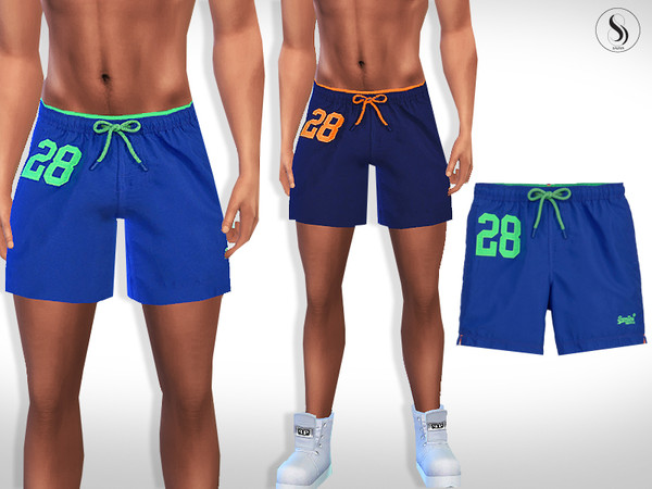 Male Sims Colorful Athletic and Swim Shorts by Saliwa