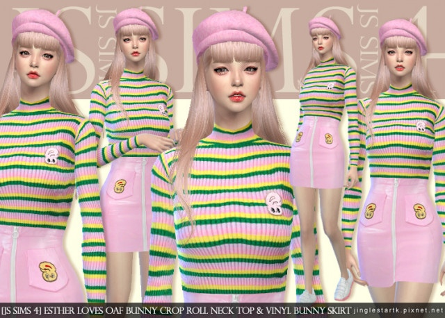 Esther Loves Oaf Bunny Crop Roll Neck Top & Vinyl Bunny Skirt by JS SIMS 4