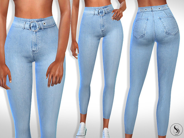 High Waist Denim Belt Jeans by Saliwa