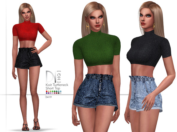 Knit Turtleneck Short Top by DarkNighTt