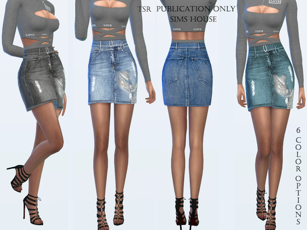 Denim skirt with belt by Sims House