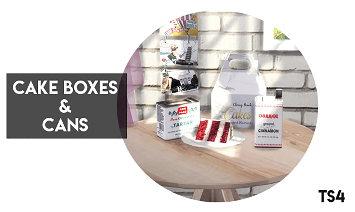 Cake Boxes & Cans by Descargas Sims