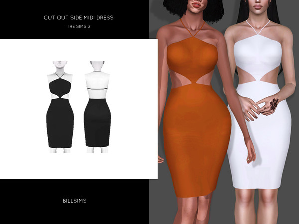 Cut Out Side Midi Dress by Bill Sims