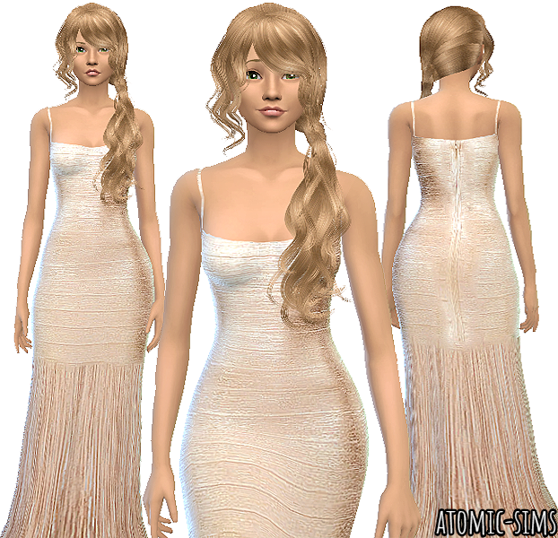 Herve Leger Woodgrain foil print fringe gown by Atomic-sims