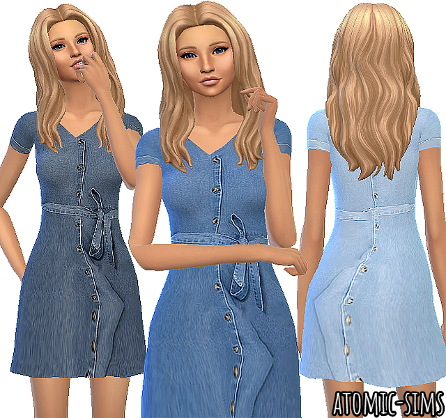 Jeans dress with ribbon by Atomic-sims