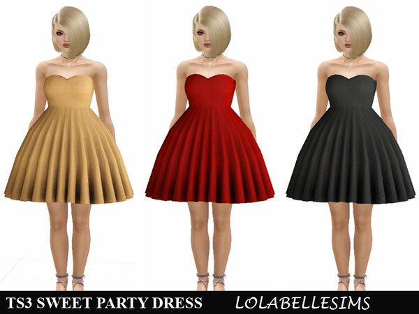 Sweet Party Dress TS3 by LolabelleSims