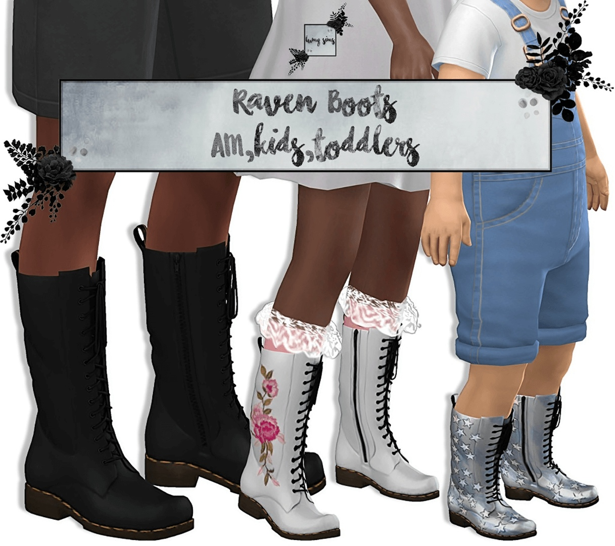 Raven Boots AM Kids Toddlers by Lumysims
