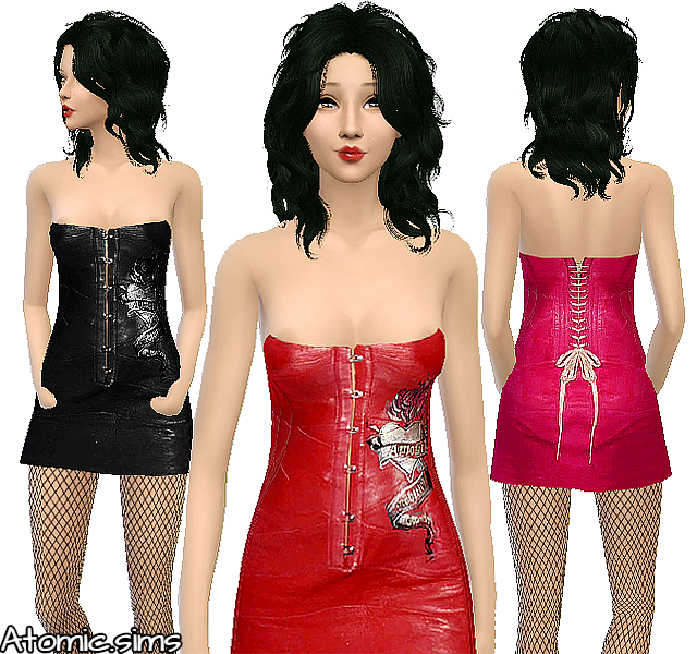 Glamsim Christina Aquilera red leather dress conversion by Atomic-sims