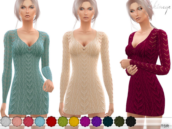 V-Neck Knit Dress by ekinege
