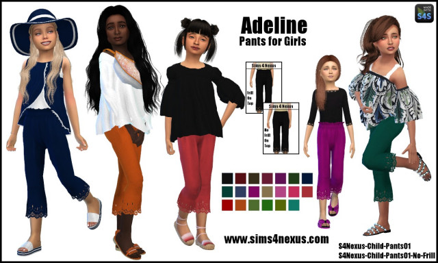 Adeline pants for girls by Sims4Nexus