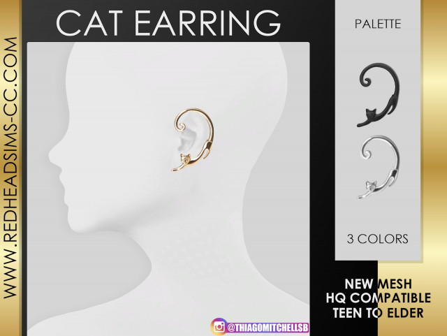 CAT EARRING by redheadsims