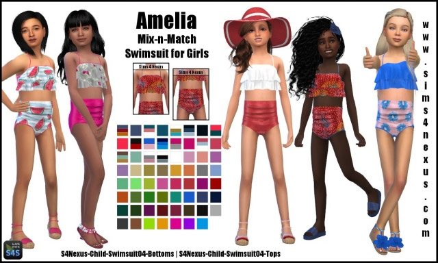 Amelia mix-n-match swimsuits by Sims4Nexus