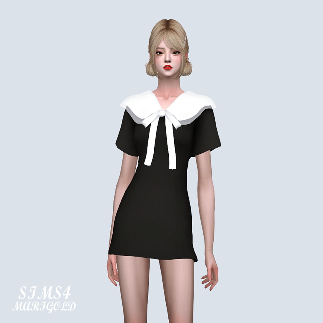 Body Double Big Collar Mini Dress With Bow by Marigold