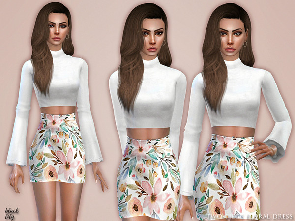 Two-Piece Floral Dress by Black Lily