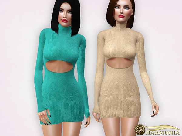 Metallic Turtleneck Sweater Mini Dress by Harmonia