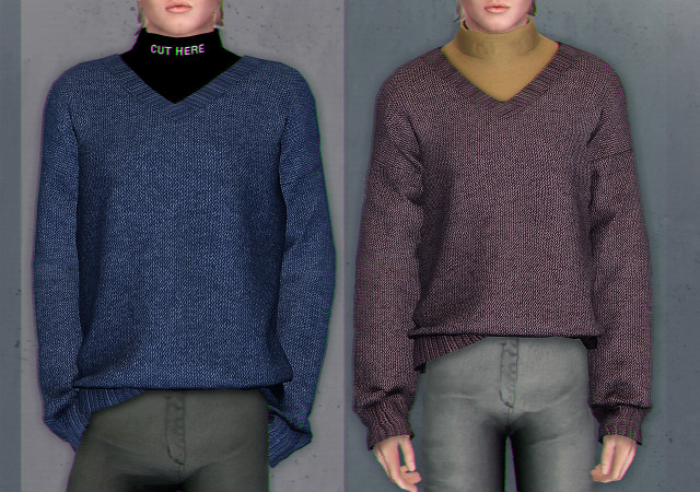 Gorilla x3 V-neck sweater with turtleneck 4t3 by jesod-sims