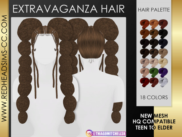 EXTRAVAGANZA HAIR by redheadsims