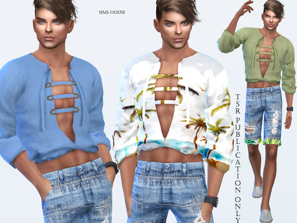 Tropics blouse men's lacing by Sims House
