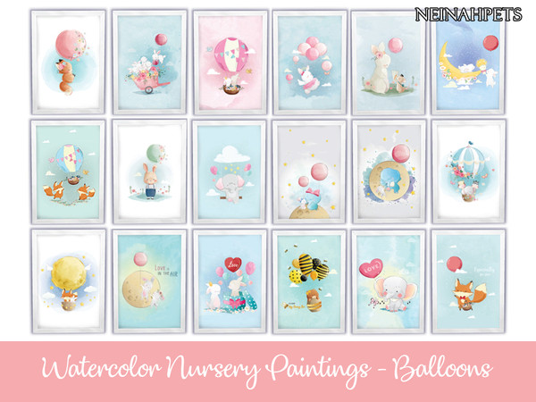 Watercolor Nursery Paintings - Balloons by neinahpets