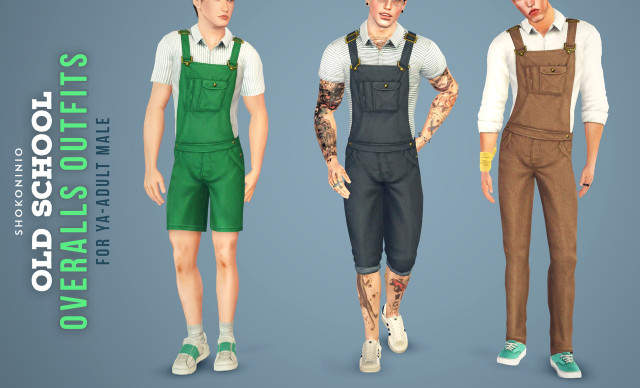 9 Overalls Outfits for YA-Adult Male by Shokoninio