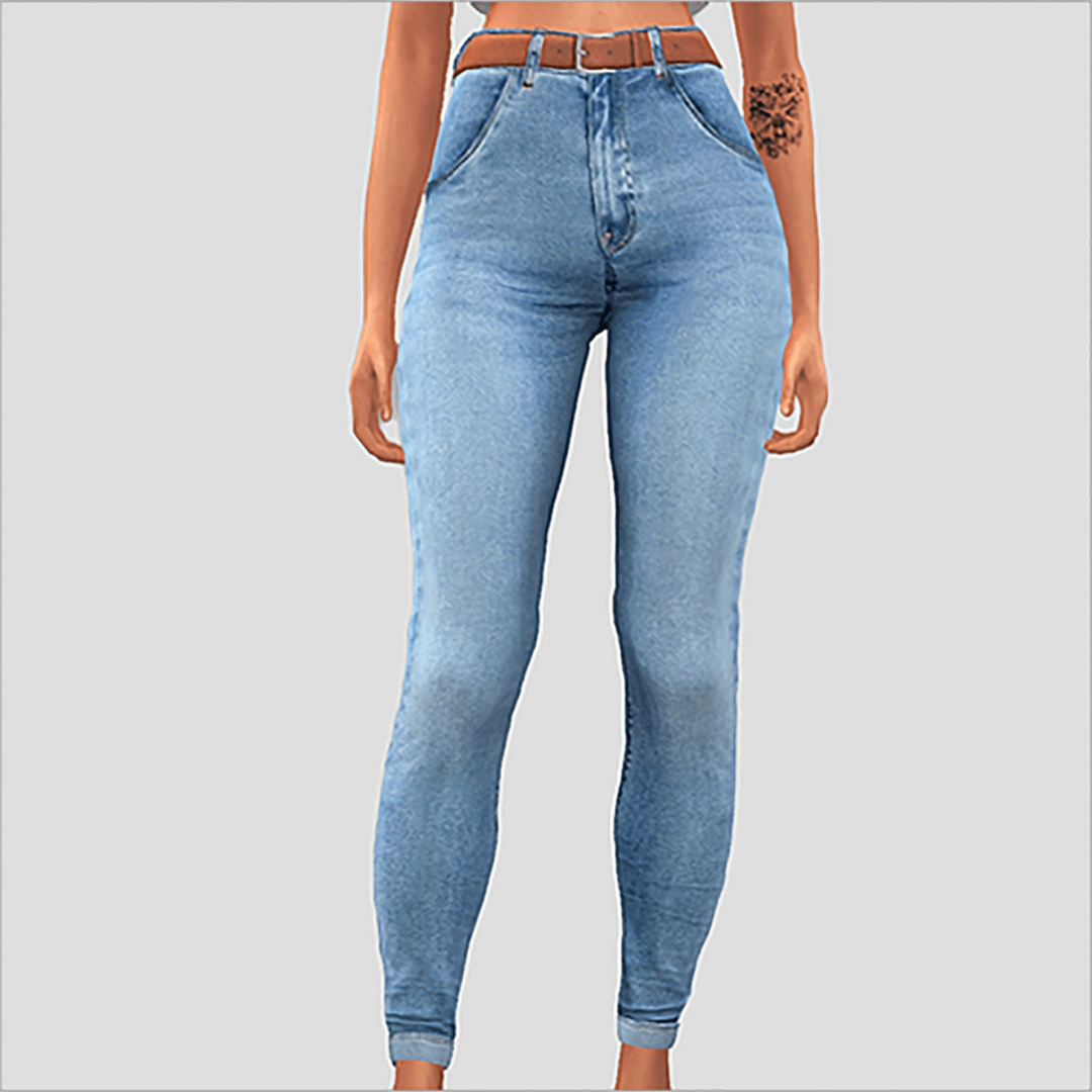 Belted Simple Jeans by Elliesimple