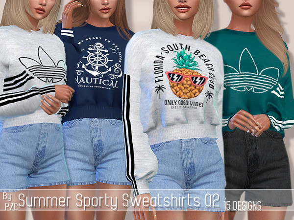 ET-Summer Sporty Sweatshirts 02 and High Waisted Shorts by Pinkzombiecupcakes