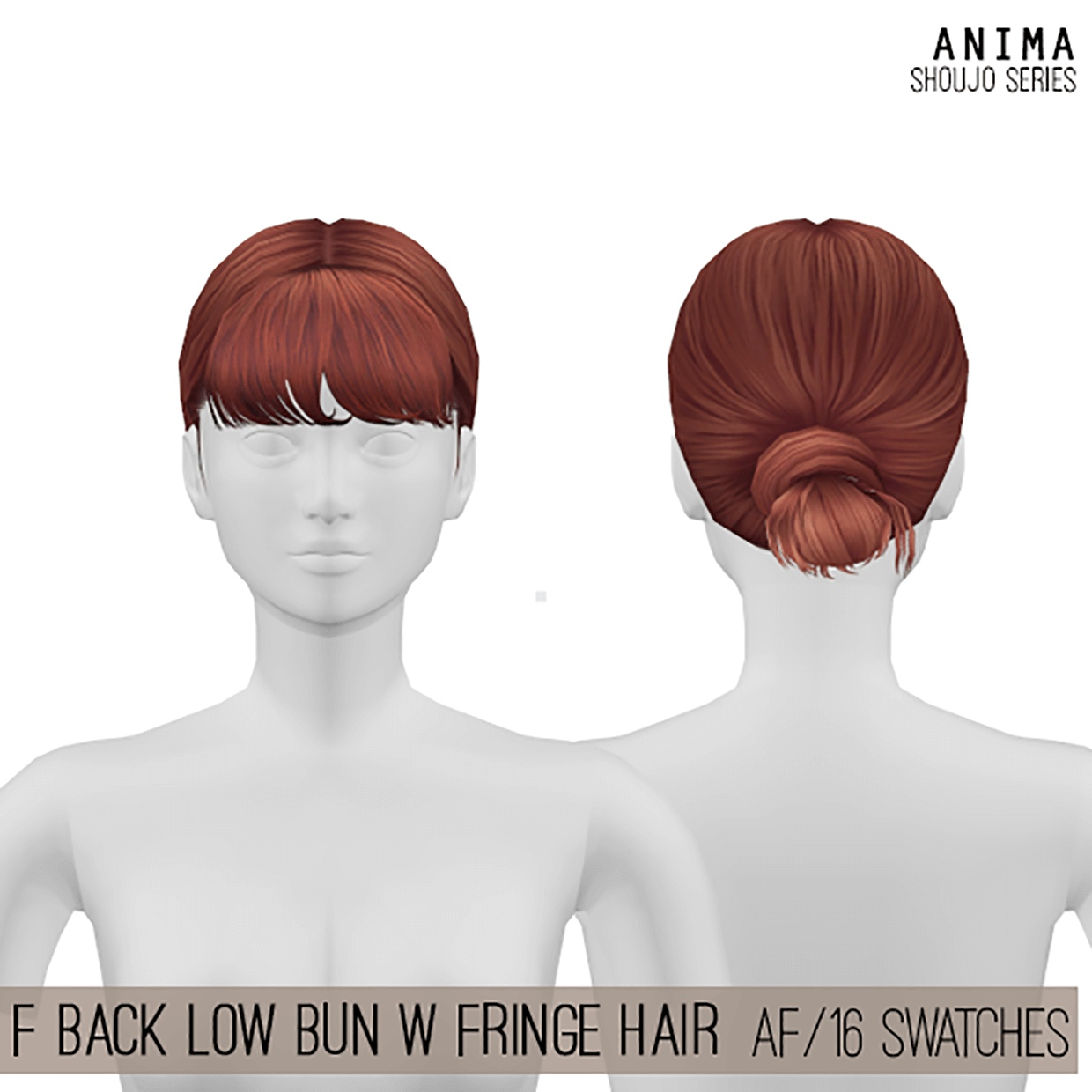 Back Low Bun w Fringe Hair by Cosplay Simmer