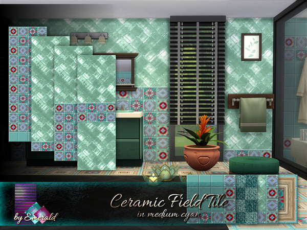 Ceramic Field Tile in medium cyan by emerald