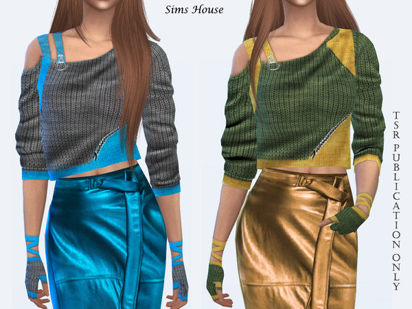 One shoulder sweater with mitts by Sims House