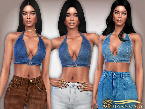Halter Neck Denim Crop Top by Harmonia