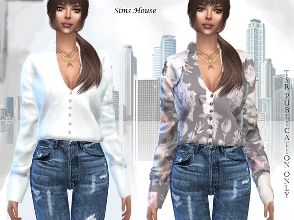 Women's blouse with print and long sleeve by Sims House
