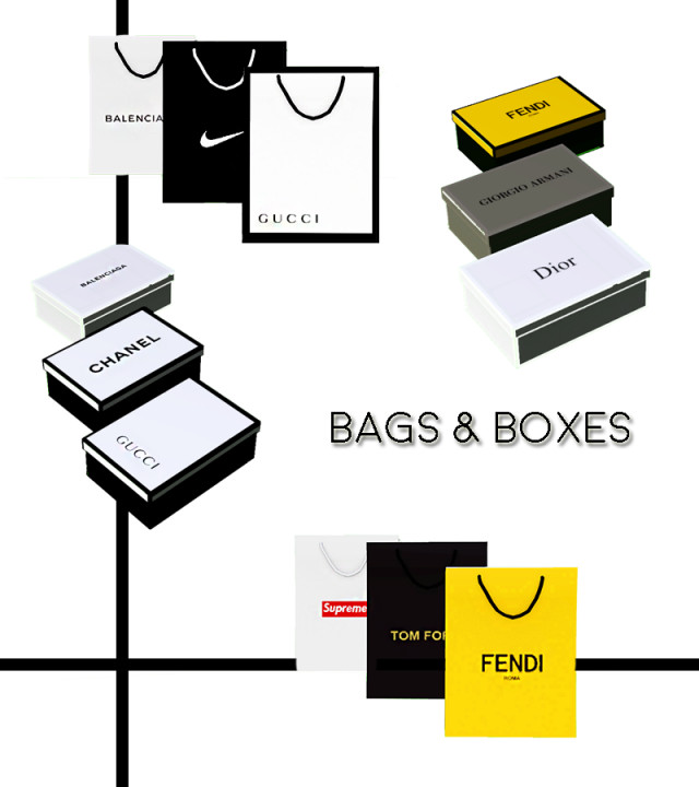 Designer Shopping Bags and Boxes by Pottery-sims