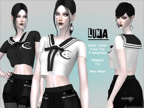 LUNA - Sailor Collar Top by Helsoseira