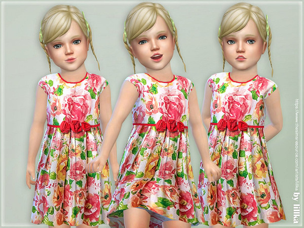 Pink and Orange Floral Dress by lillka